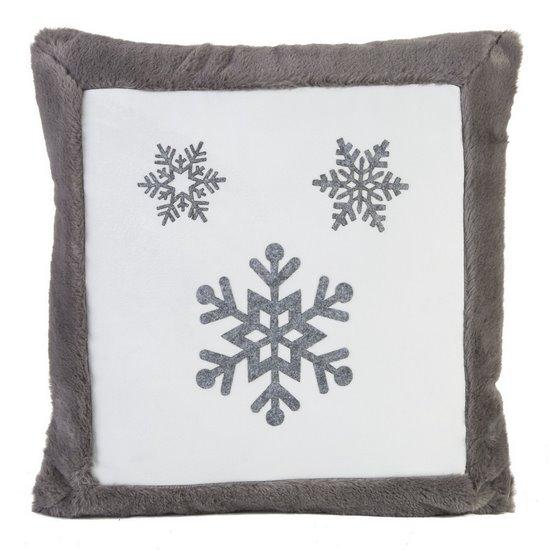 Poszewka na poduszkę śnieżynka 45 x 45cm szaro-biała - 45x45 - różowy