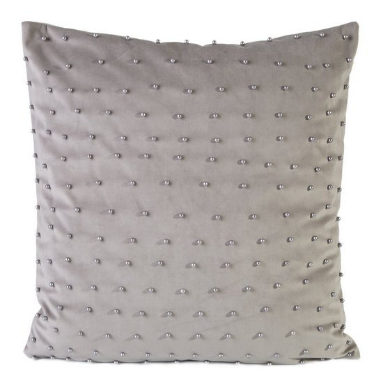 Poszewka na poduszkę 45 x 45 cm szaro beżowa z perełkami  - 45x45