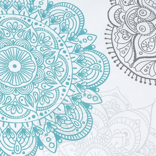 Komplet pościeli z satyny bawełnianej 160x200 cm, 2 szt. 70x80 cm nadruk turkusowe mandale - 160x200 - turkusowy / srebrny