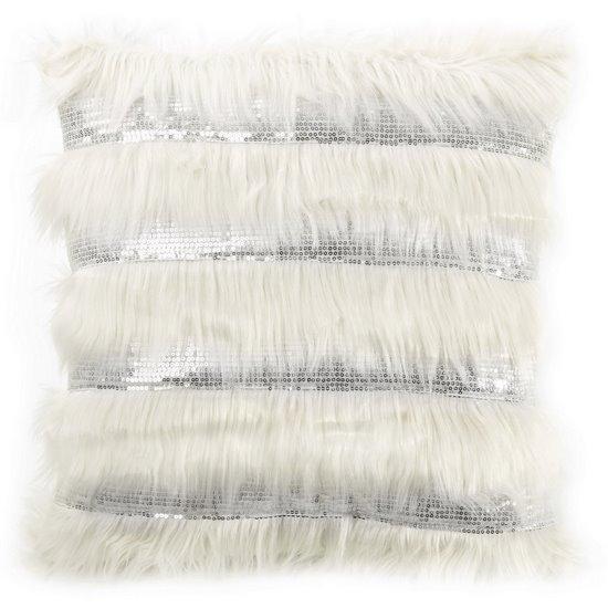 Poszewka dekoracyjna z włosem i cekinami biała 45 x 45cm - 45 X 45 cm