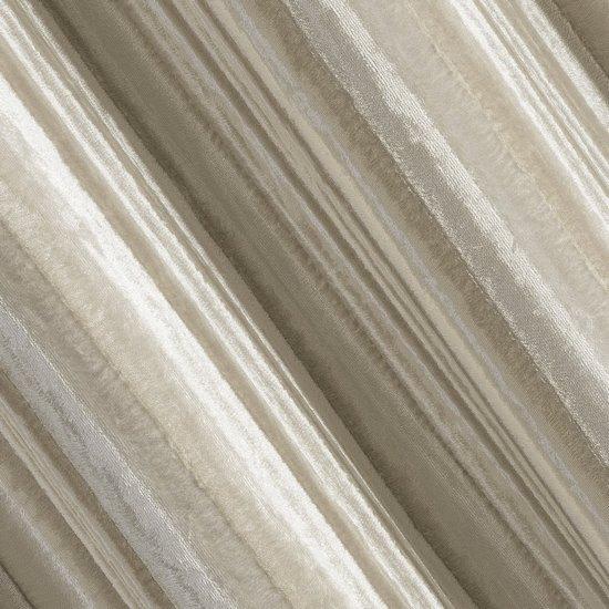 Zasłona welwetowa z wytłaczanymi pasami beżowa 140x250 cm przelotki - 140 X 250 cm