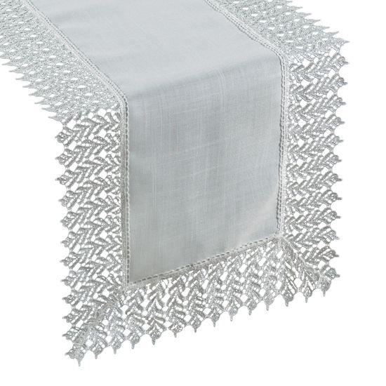 Srebrny BIEŻNIK NA STÓŁ do JADALNI gipiura 35x140 cm - 35x140 - Srebrny