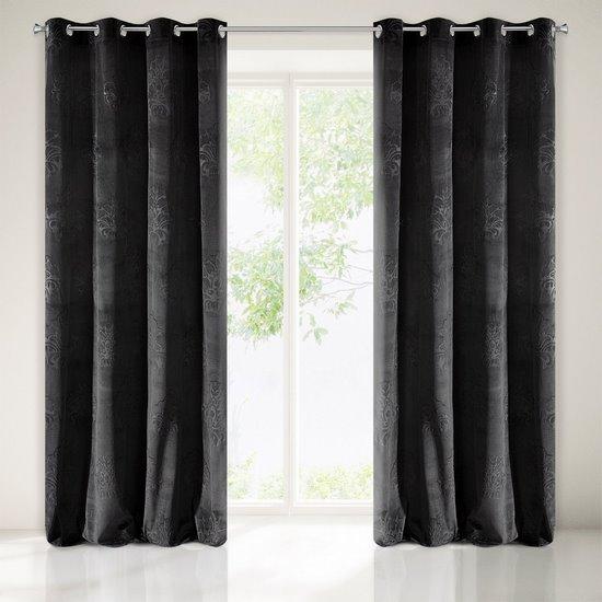 Zasłona welwetowa czarna z ornamentowym wzorem 140x250 cm przelotki - 140x250 - czarny