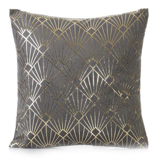Poszewka na poduszkę z stalowa ze wzorem ze złotej nici 40 x 40 cm  - 40 X 40 cm - stalowy/srebrny