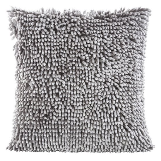Poszewka na poduszkę włosie shaggy srebrna 40 x 40 cm  - 40 X 40 cm