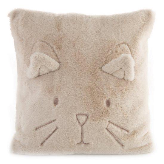 Poszewka na poduszkę 45 x 45 cm kotek z wąsami i uszkami pudrowa  - 45 X 45 cm - pudrowy