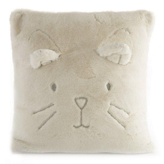 Poszewka na poduszkę 45 x 45 cm kotek z wąsami i uszkami kremowa - 45 X 45 cm - kremowy