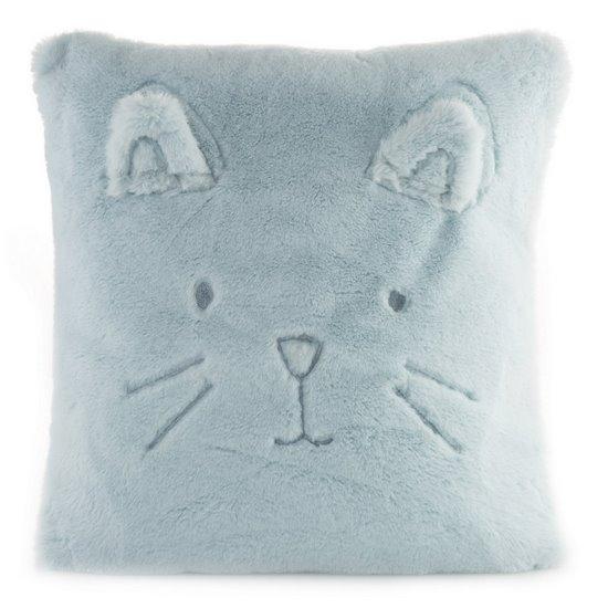 Poszewka na poduszkę 45 x 45 cm kotek z wąsami i uszkami jasno niebieska  - 45 X 45 cm