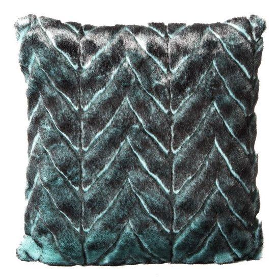 Poszewka na poduszkę 45 x 45 cm czarno-turkusowa piękny wzór  - 45x45 - turkusowy / czarny