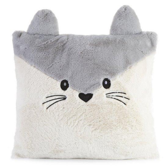 Poszewka na poduszkę zwierzątko z uszkami 45 x 45 cm kremowo srebrna  - 45x45 - kremowy / srebrny