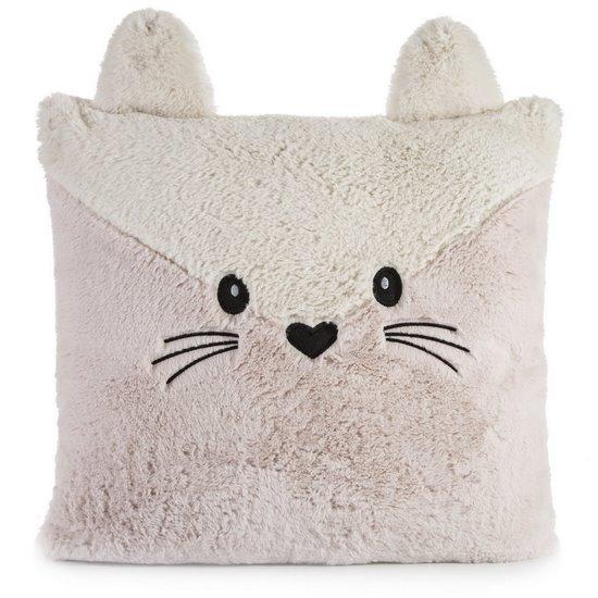 Poszewka na poduszkę zwierzątko z uszkami 45 x 45 cm kremowo różowa  - 45x45