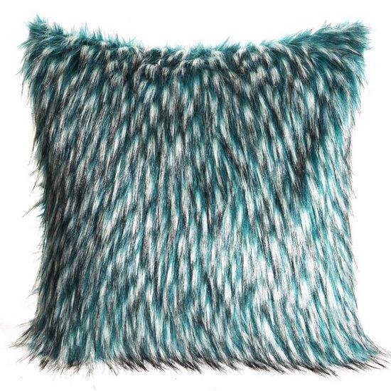 Poszewka na poduszkę 45 x 45 cm włochate futerko dwukolorowe turkusowo białe  - 45 X 45 cm