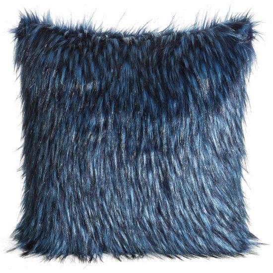 Poszewka na poduszkę 45 x 45 cm włochate futerko niebiesko czarna  - 45 X 45 cm