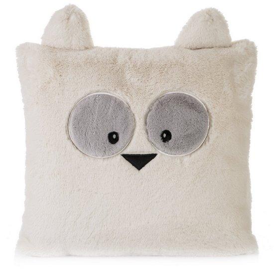 Poszewka na poduszkę 45 x 45 cm zwierzątko z dużymi oczami kremowa  - 45x45
