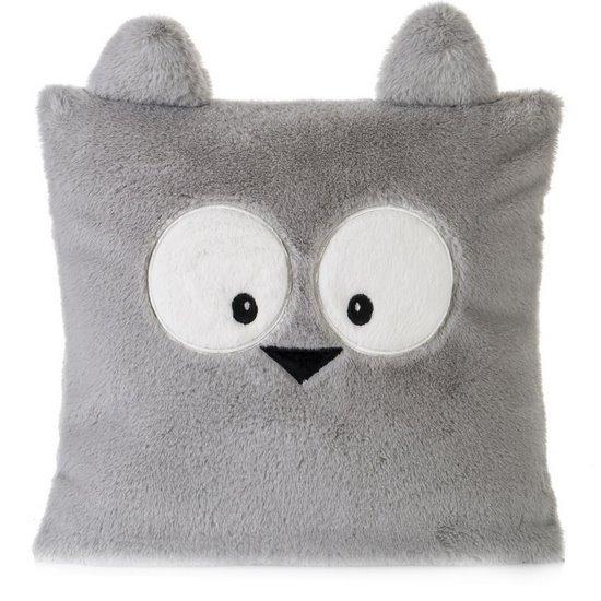 Poszewka na poduszkę 45 x 45 cm zwierzątko z dużymi oczami srebrna  - 45x45 - srebrny / kremowy