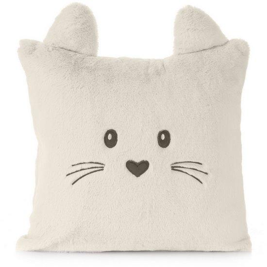 Poszewka na poduszkę 45 x 45 cm zwierzątko z uszkami kremowa  - 45x45 - kremowy