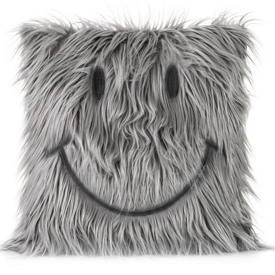 Poszewka na poduszkę futerko uśmiech 45 x 45 cm szara - 45 X 45 cm - popielaty