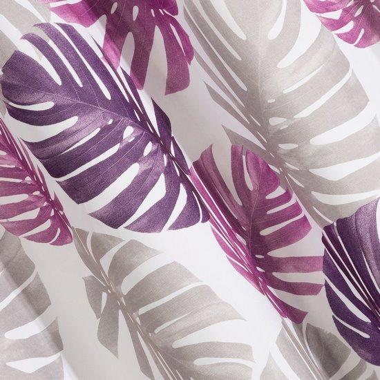 Zasłona liście monstery fiolet i róż 140x250 na przelotkach - 140x250