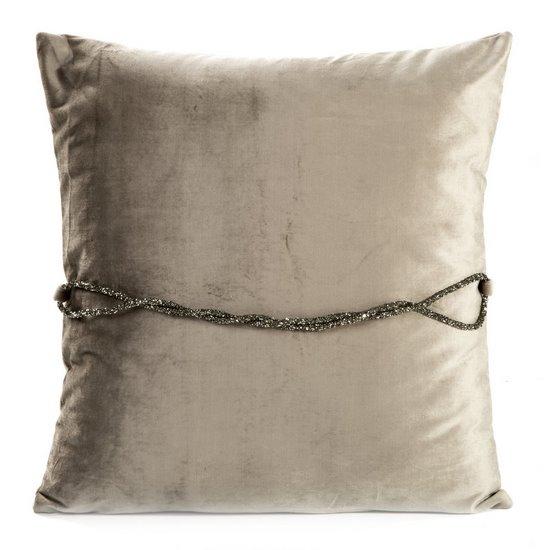 Poszewka na poduszkę 45 x 45 cm beżowa ze srebrnym paskiem  - 45x45