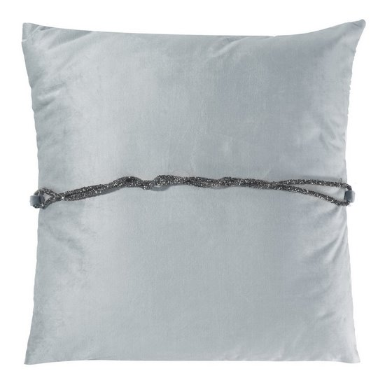 Poszewka na poduszkę 45 x 45 cm srebrna ze srebrnym paskiem  - 45x45 - srebrny