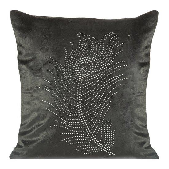 Poszewka na poduszkę 40 x 40 cm czarna pióro  - 40x40