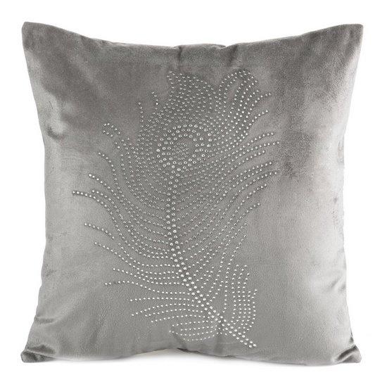 Poszewka na poduszkę 40 x 40 cm szara pióro  - 40x40