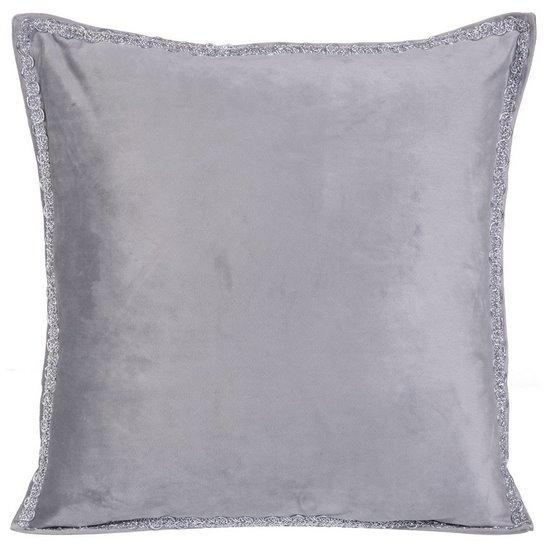 Elegancka poszewka na poduszkę srebrna ze srebrnym wykończeniem 40 x 40 cm  - 40 X 40 cm - popielaty