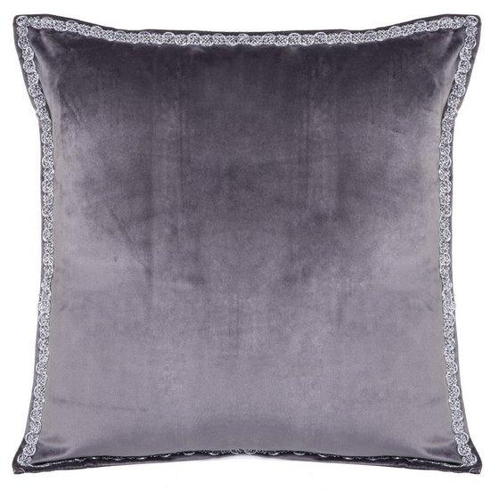 Elegancka poszewka na poduszkę ciemnoszara ze srebrnym wykończeniem 40 x 40 cm  - 40 X 40 cm - grafitowy