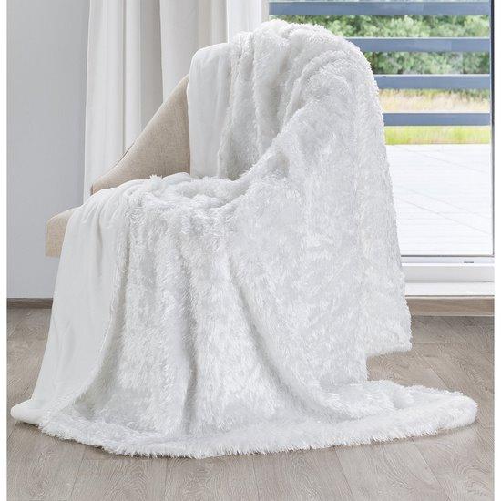 Futerkowy miękki koc BIAŁY z długim włosiem 150x200 - 150x200 - biały