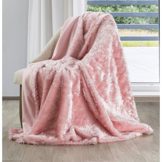 Futerkowy miękki koc PUDROWY RÓŻOWY z długim włosiem 150x200 - 150x200 - różowy
