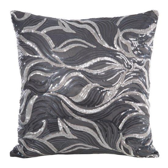 Poszewka na poduszkę szaro srebrna 45 x 45 cm  - 45x45 - czarny