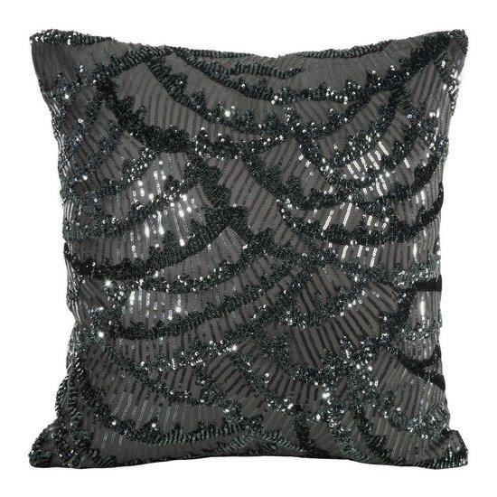 Poszewka na poduszkę 45 x 45 cm lśniąca stalowa  - 45x45