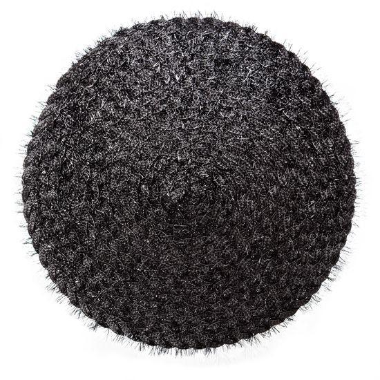 Włochata podkładka stołowa czarna okrągła średnica 38 cm - ∅ 38 cm - czarny