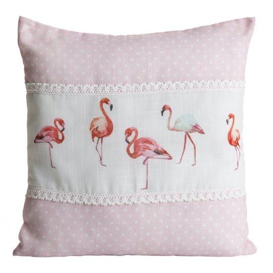 Poszewka na poduszkę 40 x 40 cm biało różowa flamingi  - 40x40