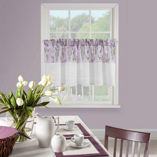 Firana zazdrostka 60 x 150 cm biało fioletowa wrzosy  - 150 X 60 cm - fioletowy/biały