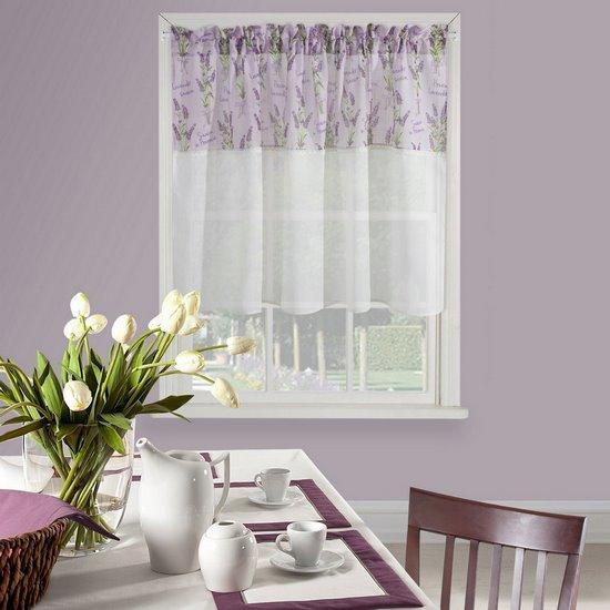 Firana zazdrostka 90 x 150 cm biało fioletowa wrzosy  - 150 X 90 cm