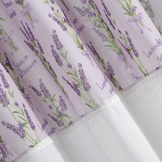 Firana Zazdrostka 90 x 150 cm biało fioletowa wrzosy  - 90x150 - biały / fioletowy