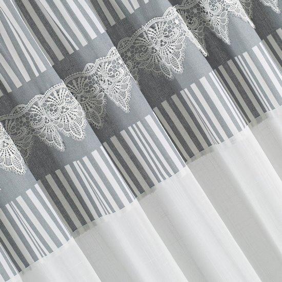 Zasłona srebrno biała z piękną koronką 140 x 250 cm na taśmie - 140 X 250 cm - biały/stalowy