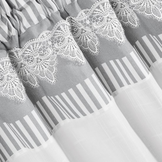 Firana Zazdrostka 60 x 150 cm szaro biała z piękną koronką  - 60x150 - beżowy