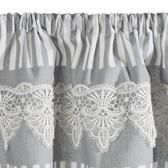 Firana Zazdrostka 60 x 150 cm szaro biała z piękną koronką  - 60x150