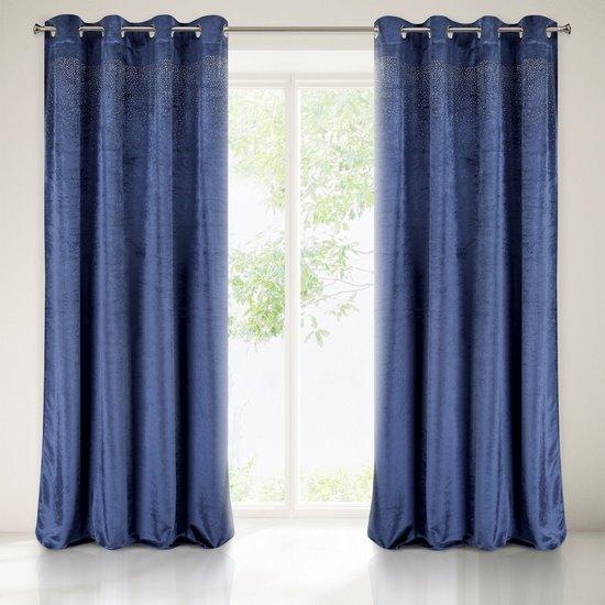 Zasłona welwetowa niebieska z kryształkami 140x250 cm przelotki - 140x250