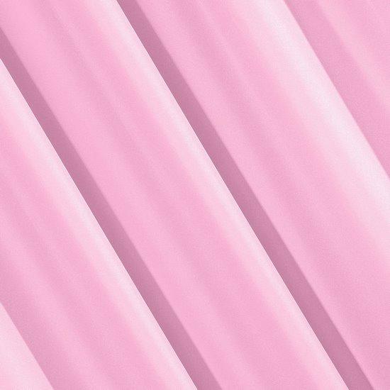 Jasnoróżowa gładka zasłona z matowej satyny 140x250 przelotki - 140 X 250 cm - różowy