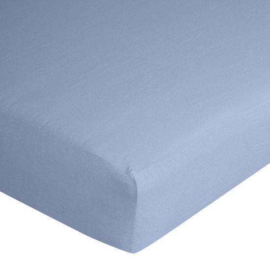 Prześcieradło bawełniane gładkie 90x200+25cm 140 kolor niebieski - 90 X 200 cm, wys.25 cm - niebieski