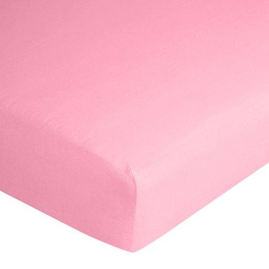 Prześcieradło bawełniane gładkie 90x200+25cm 140 kolor różowy - 90 X 200 cm, wys.25 cm - różowy