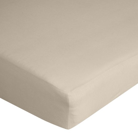 Prześcieradło bawełniane gładkie 120x200+25cm 140 kolor beżowy - 120 X 200 cm, wys.25 cm - beżowy