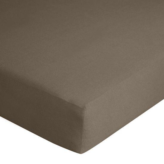 Prześcieradło bawełniane gładkie 120x200+25cm 140 kolor brązowy - 120 X 200 cm, wys.25 cm - brązowy