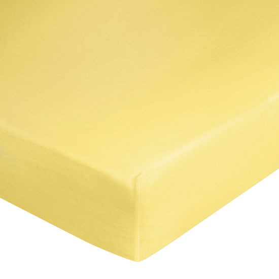 Prześcieradło bawełniane gładkie 120x200+25cm 140 kolor różowy - 120 X 200 cm, wys.25 cm - żółty
