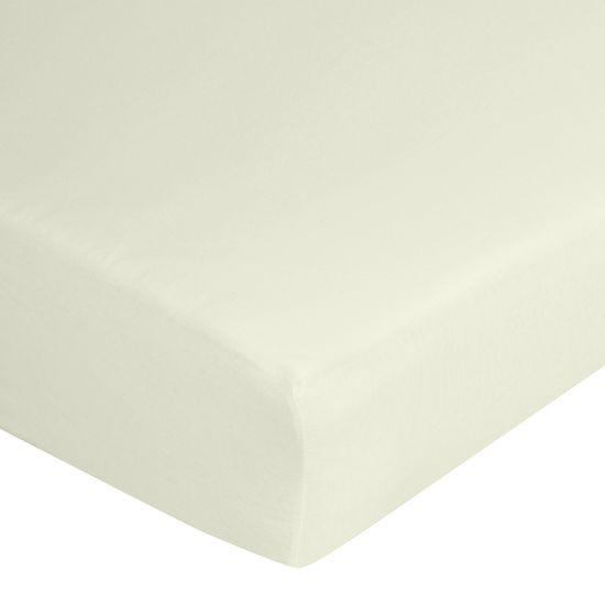 Prześcieradło bawełniane gładkie 160x200+25cm 140 kolor kremowy - 160 X 200 cm, wys.25 cm - kremowy