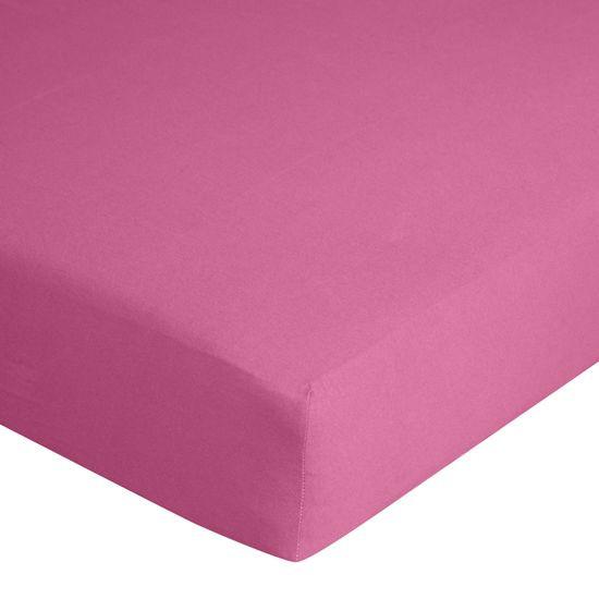 Prześcieradło bawełniane gładkie 180x200+25cm kolor amarant - 180 X 200 cm, wys.25 cm - amarantowy