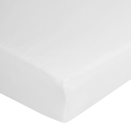 Prześcieradło bawełniane gładkie 180x200+25cm 140 kolor biały - 180 X 200 cm, wys.25 cm - biały